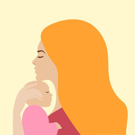 Mother holding newborn baby, vector