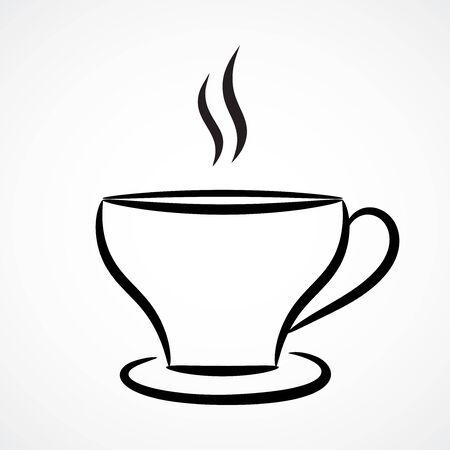 Contour illustration of tea cup. Vector design.