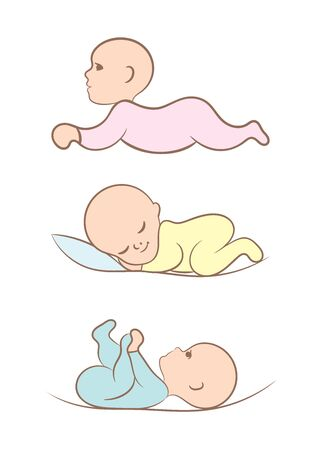 Set of newborn babies in different positions, vector Ilustrace