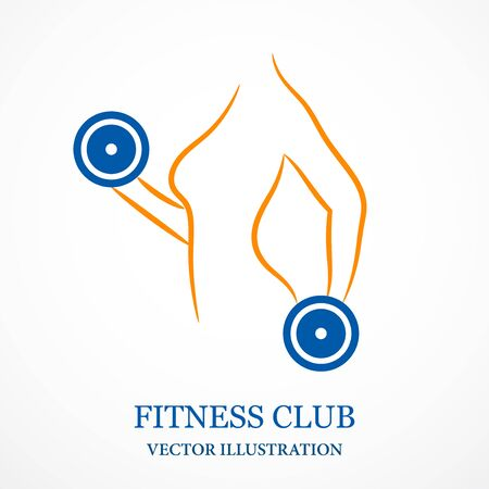 Contour illustration of girl and dumbbells. Fitness club logo. Vector.
