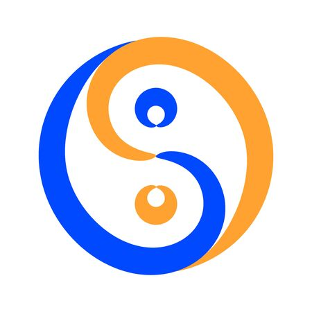 Contour Yin Yang symbol, vector