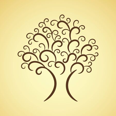 Ornate decorative brown tree, vector