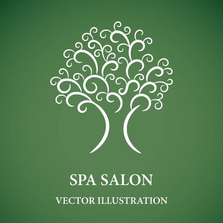 Swirl tree for green spa logo Ilustrace