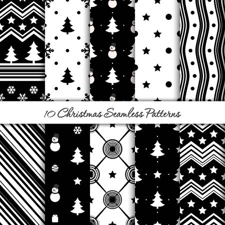 10 Christmas seamless patterns in black and white colors Ilustrace