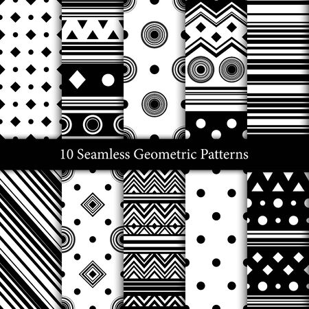 10 geometric seamless patterns in black and white colors Ilustrace