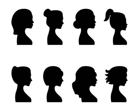 Female profile silhouettes, different variants. Vector.