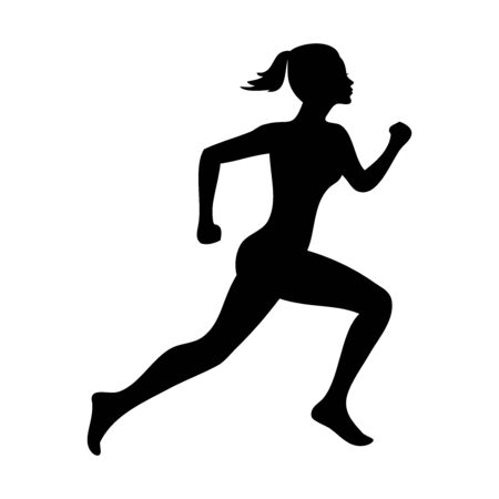 Active running woman silhouette, vector illustration