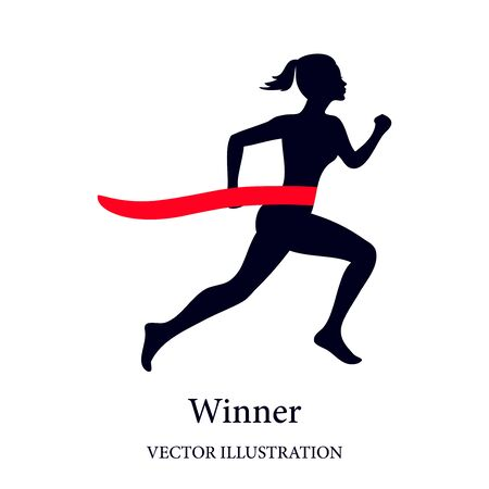 Running woman, winner at finish line. Vector.