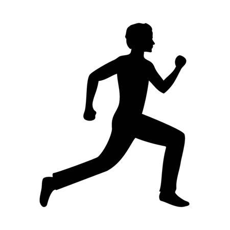 Active running man silhouette, vector illustration Ilustrace
