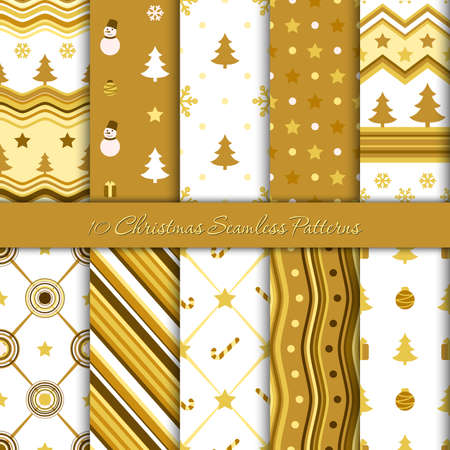 Ten Christmas seamless patterns in white and golden colors, vector
