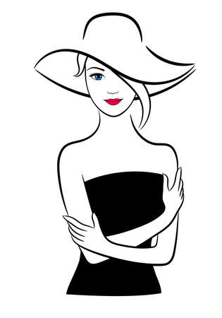 Woman in black dress and hat, vector contour illustration