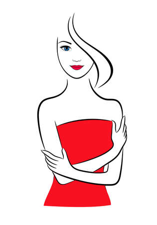 Woman in red dress, vector contour illustration
