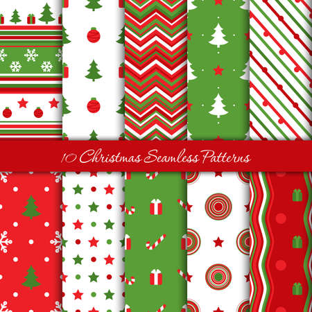 Ten Christmas endless pattern in red and green colors, vector Ilustrace
