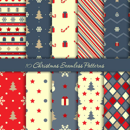 Ten Christmas seamless patterns in blue and red colors