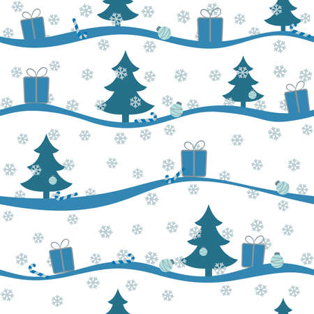 Seamless Christmas light pattern with blue snow, trees, balls and gifts. Vector endless illustration for web background.