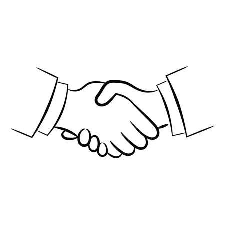 Hand shake symbol, contour illustration. Vector.