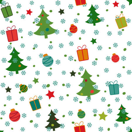 Seamless Christmas pattern with green trees, balls, gifts and snow. Ilustrace