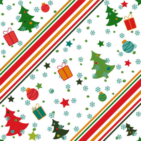 Seamless Christmas pattern with green trees, balls, gifts and snow. Decorated with lines. Vector endless illustration for web background.