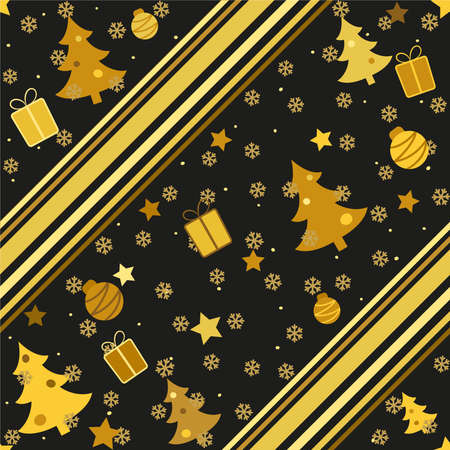 Seamless Christmas pattern with golden trees, balls, gifts and snow. Decorated with lines. Vector endless illustration for web background.