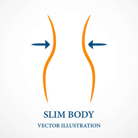 Contour fitness pattern, slim female shape. Vector.