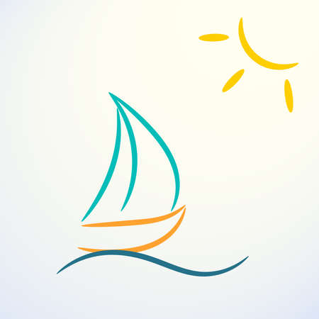 Contour logo with colored sailing boat and sun