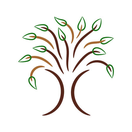 Abstract contour stylized tree, colored vector Ilustrace