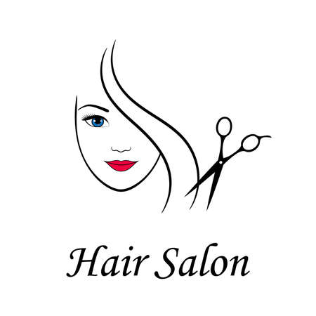 Contour   for beauty salon. Woman face and scissors. Vector illustration.