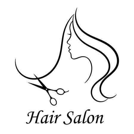 Contour   for beauty salon. Woman profile, long hair and scissors. Vector illustration.