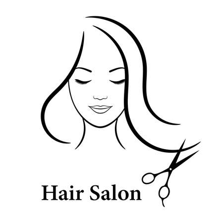 Contour   for beauty salon. Woman with closed eyes, long hair and scissors. Vector illustration.