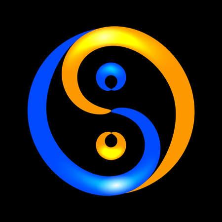 Contour sparkling Yin Yang symbol on black background, vector