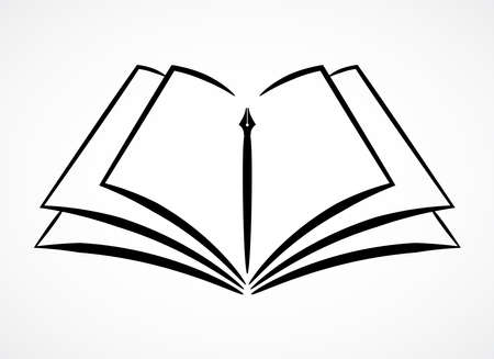Contour symbol of opened book and pen, vector Ilustrace