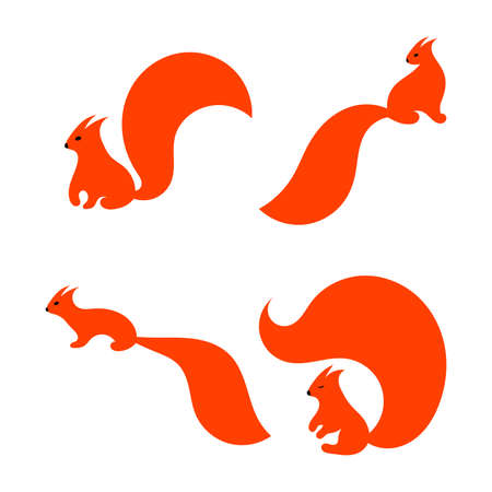 Red squirrels set, vector design