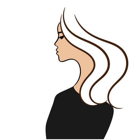 Beautiful female profile sketch, vector