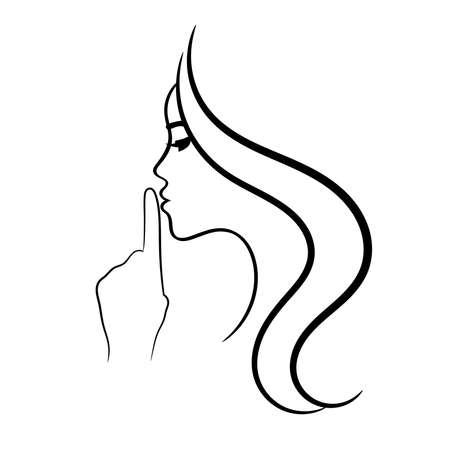 Female face profile sketch with finger near lips