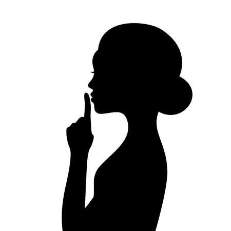 Female face profile silhouette with finger near lips Ilustrace
