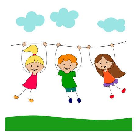 Funny cartoon playing children, vector