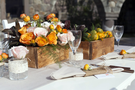 formal dinner party: Impressive wedding table setup tangerine concepted
