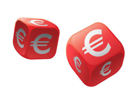 gamble: Gamble with international currency dice Stock Photo
