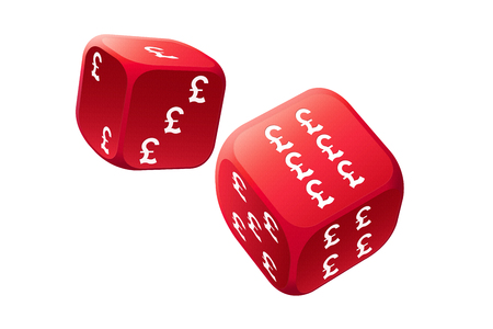 gamble: Big gamble with international currency dice Stock Photo