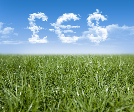 unsettled: Green grass and Pound, Euro, Dollar currency shaped clouds Stock Photo