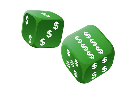 Big gamble with international currency dice Stock Photo