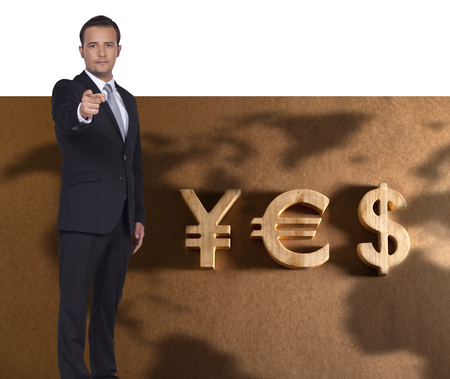 alerts: Businessman alerts people about the stronger Yen, Euro and Dollar