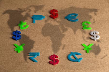 world economy: World economy map with colorful international icon