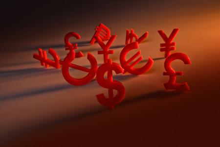 world economy: World economy map with red international icons on orange