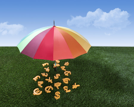 Currency units under the colourful umbrella on green grass
