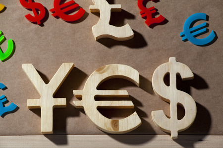 money symbol: Colorful world economy picture says yes and sell
