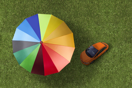 protect: Automobile under protect by powerful insurance company Stock Photo