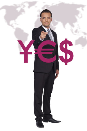 Businessman is pointing to China, Europe, USA economies front of the world map Stock Photo