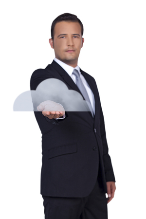 Businessman presents you new big cloud technology