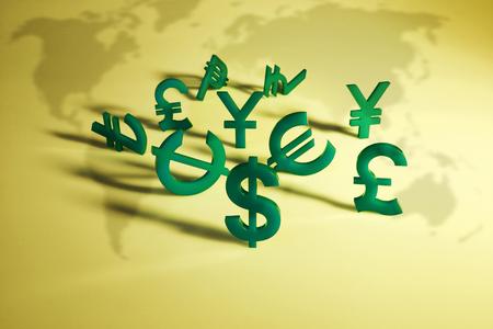world economy: World economy map with green international icon on yellow